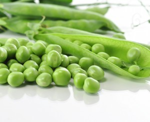 fresh green peas , close up